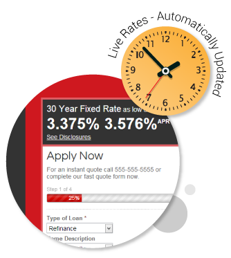 live mortgage rates for your custom mortgage website